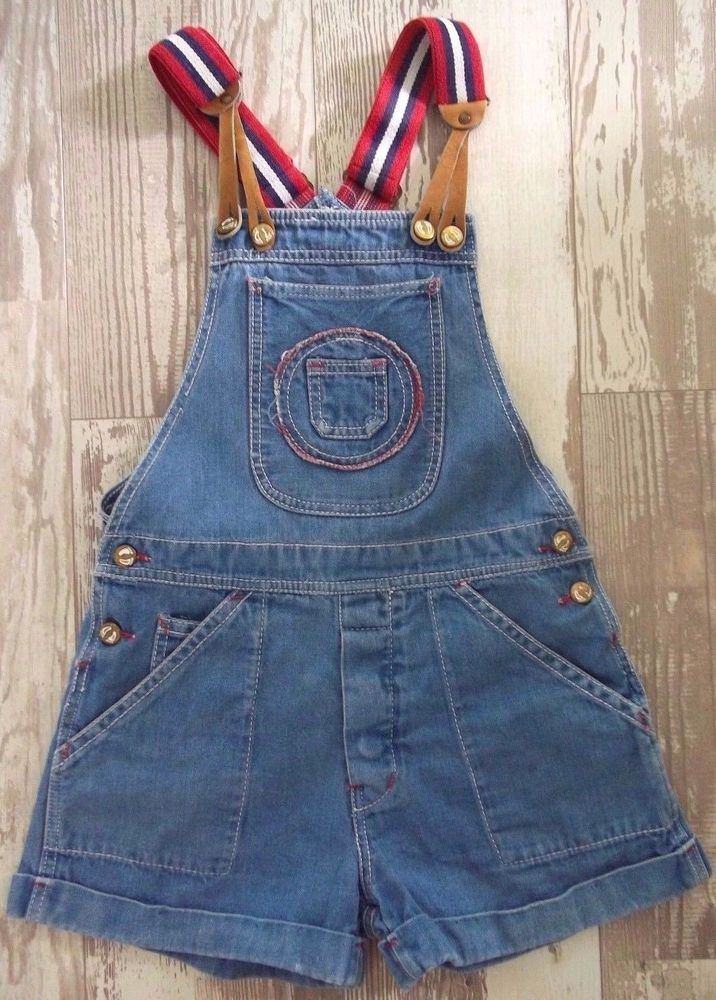Vtg Hang Ten Shorts Denim Bib Overalls Suspenders SZ 30 Hippie Boho Jean Red #HangTen #Casual