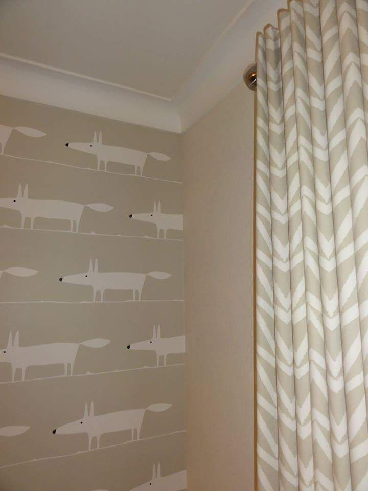 Mr Fox wallpaper with contrasting fabric from Scion fitted to our customers lovely home.