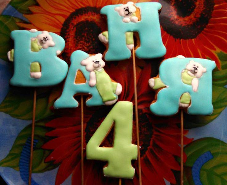 Пряники для торта. Надпись, буквы из пряников. День Рождения