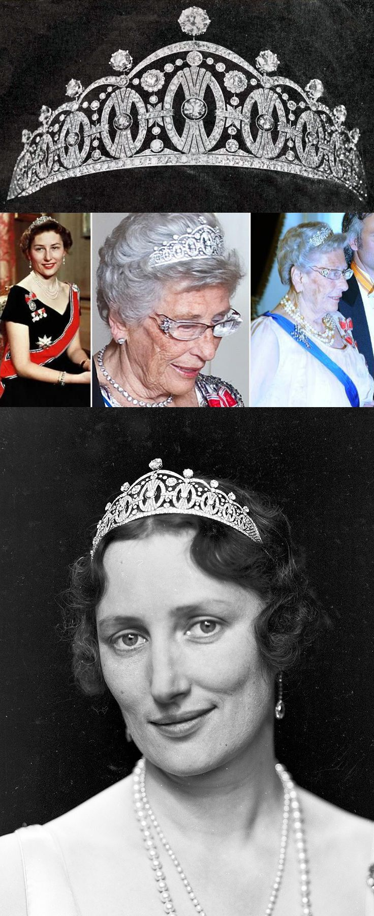 The Vasa Diamond Tiara, Princess Märtha of Sweden (below) was offered by the City of Stockholm on the occasion of her marriage to Olav, Crown Prince of Norway in 1929. Now owned by Princess Astrid of Norway (center). designed by Mr. Sven Carlman and made by O. F. Carlman, in the Art Deco style, set with 986 diamonds weighing 49.5 karats, in platinum. The Diadem pattern represents the crest, was inspired by the sheaf of wheat of the Vasa family that ruled Sweden from 1523 to 1654.