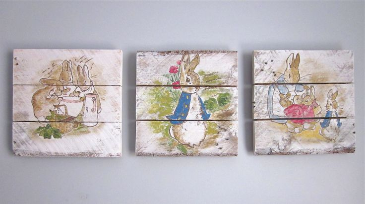 Peter Rabbit Nursery Set  Handpainted Wood Signs by SarahAnnByler, $135.00