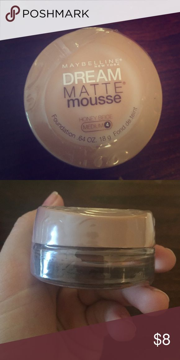 Maybelline foundation. Still in packaging! Maybelline dream matte mousse foundation! Never been opened, still has plastic packaging. The color is honey beige, medium 4 Maybelline Makeup Foundation