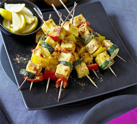 Spicy paneer skewers | BBC Good Food