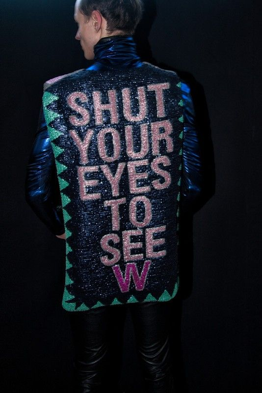 A glittered slogan top at Walter Van Beirendonck's 'Shut Your Eyes to See' AW13 collection: http://www.dazeddigital.com/fashion/article/19864/1/the-hyper-real-storytelling-of-walter-van-beirendonck