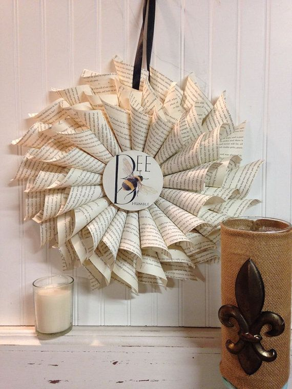Vintage Book Page Bee Humble Wreath  Rolled by Thebrassfinial, $45.00