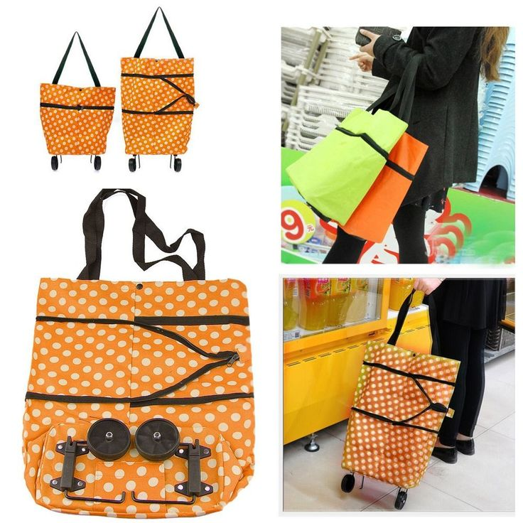 Folding Shopping Cart Basket Swivel Wheel Laundry Grocery Travel Pouch Tote Bag #Unbranded