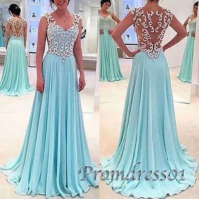 2016 cute blue chiffon long prom dress with lace top, evening dress, modest prom dress for teens #coniefox #2016prom