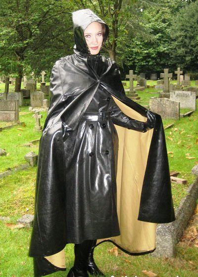 Black Rubber Hooded Cape & Raincoat