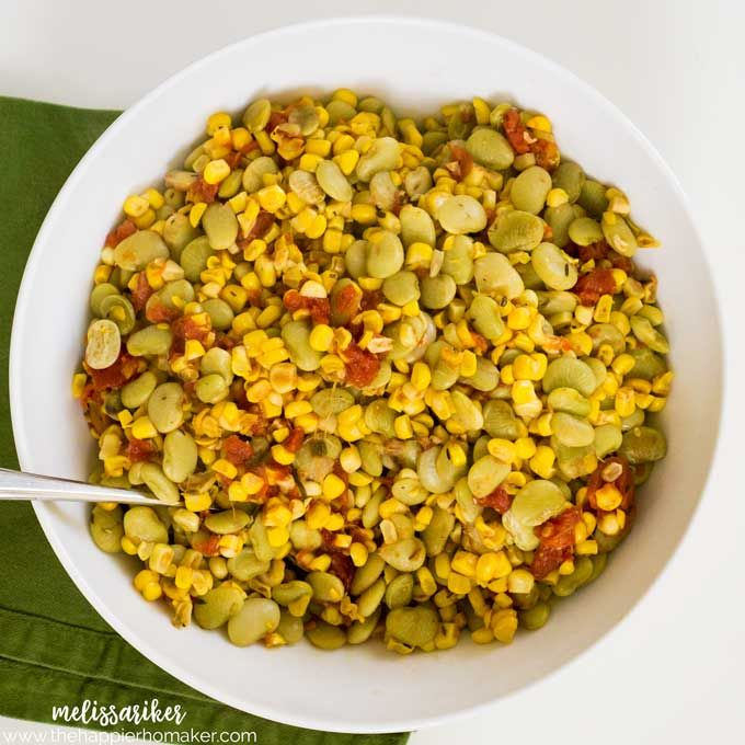Southern Succotash recipe made easier by cooking it in a slow cooker-I love easy crock pot side dish recipes like this!