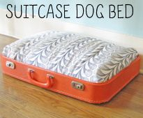 Custom dog bed from an old hard-shell suitcase. Now I have something to look for when I go estate sale-ing!