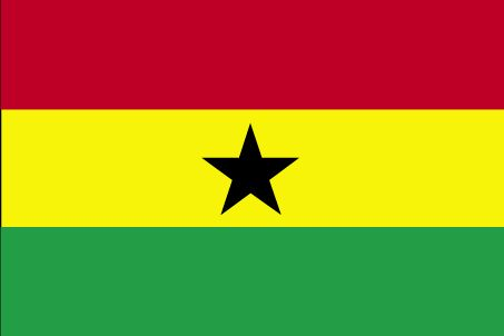 Geography of Ghana: The Ghana flag has horizontal bands of red (top), yellow, and green with a centered large black five-pointed star; uses the popular pan-African colors of Ethiopia; similar to the flag of Bolivia.