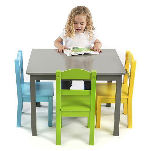 "Tot Tutors Elements Grey Wood Table and 4 Colored Chairs Set - Tot Tutors  - Babies""R""Us"