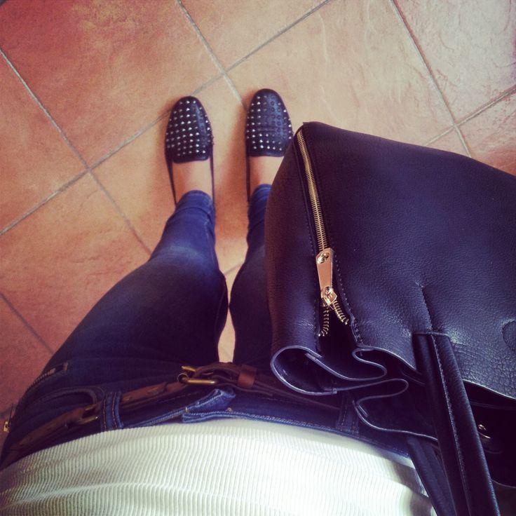 #jeans #handbag #studded