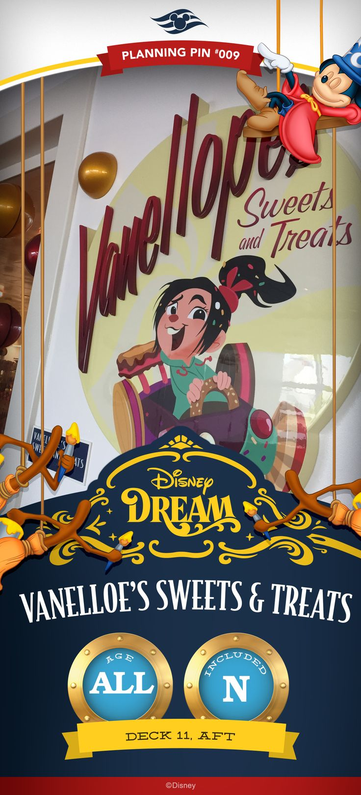 "Race on down to this decadent dessert shop inspired by the super-sweet arcade game from Disney's Wreck-It Ralph. Enjoy a ""Sugar Rush"" with hand-scooped gelato, fresh waffle cones, baked treats and candy in a wide variety of delicious flavors."