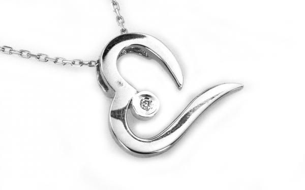 """Zlatý diamantový náhrdelník ,,Heart"""" biele 14 K zlato"""