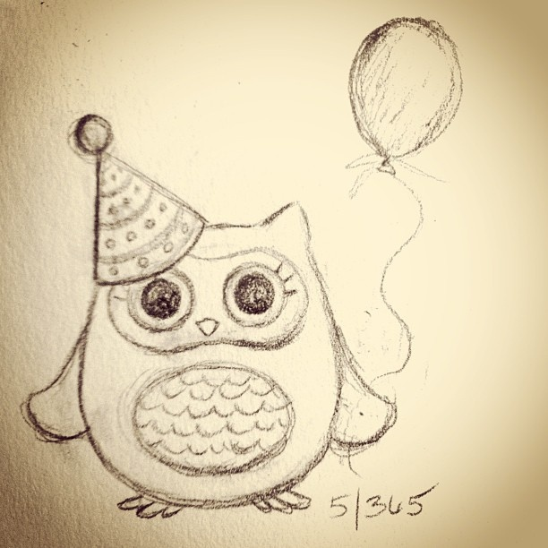 Party owl 5/365 #365drawings  #365sketches  #owls #365drawingsof2013 by Jelly Lane Designs, via Flickr