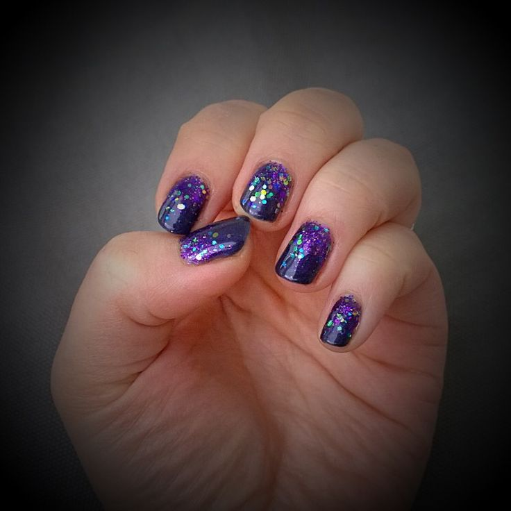 Galaxy nails!  Purple orchid by #sensationail with some Disco Nite sparkling glitter by #amazingshinenails
