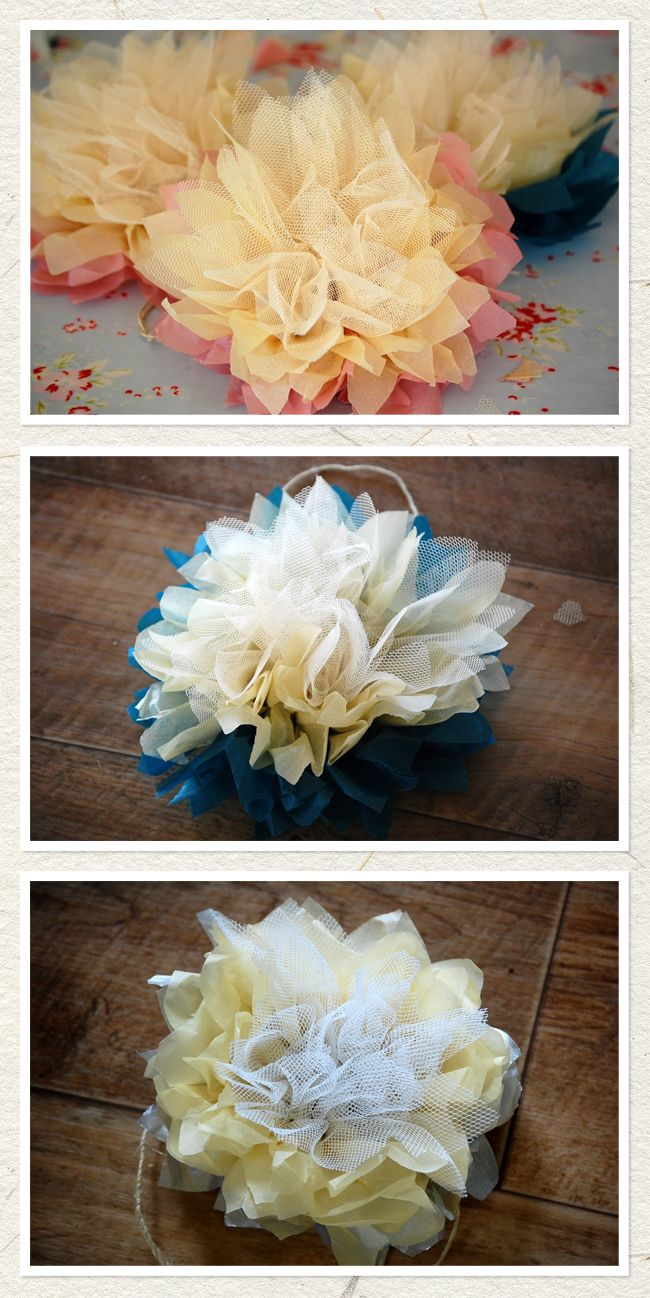 This tissue/tulle flower tutorial totally works. It's also a quick, cheap party decoration or gift wrapping accent when done with just tissue.