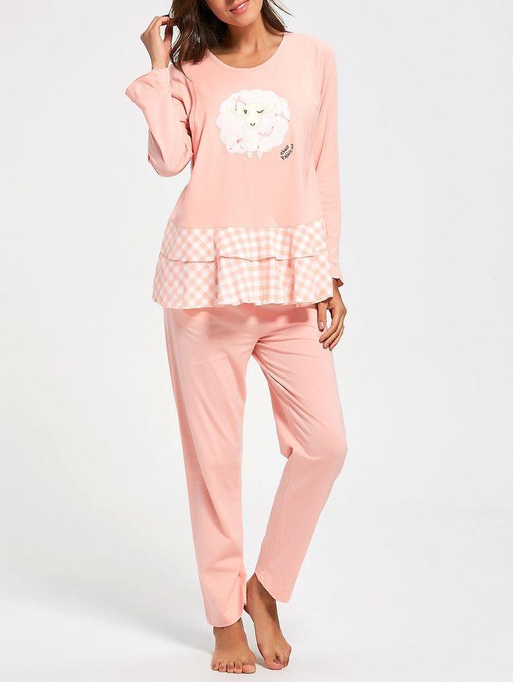 Flounce Plaid Cotton Nursing Loungewear Set - ORANGEPINK L
