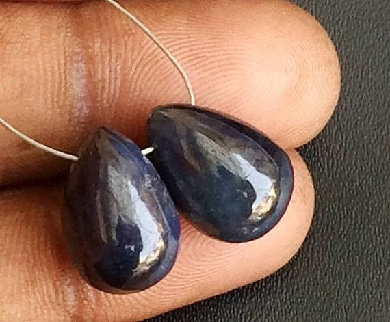 2 Pcs Blue Sapphire Plain Tear Drop Beads Matched Pair