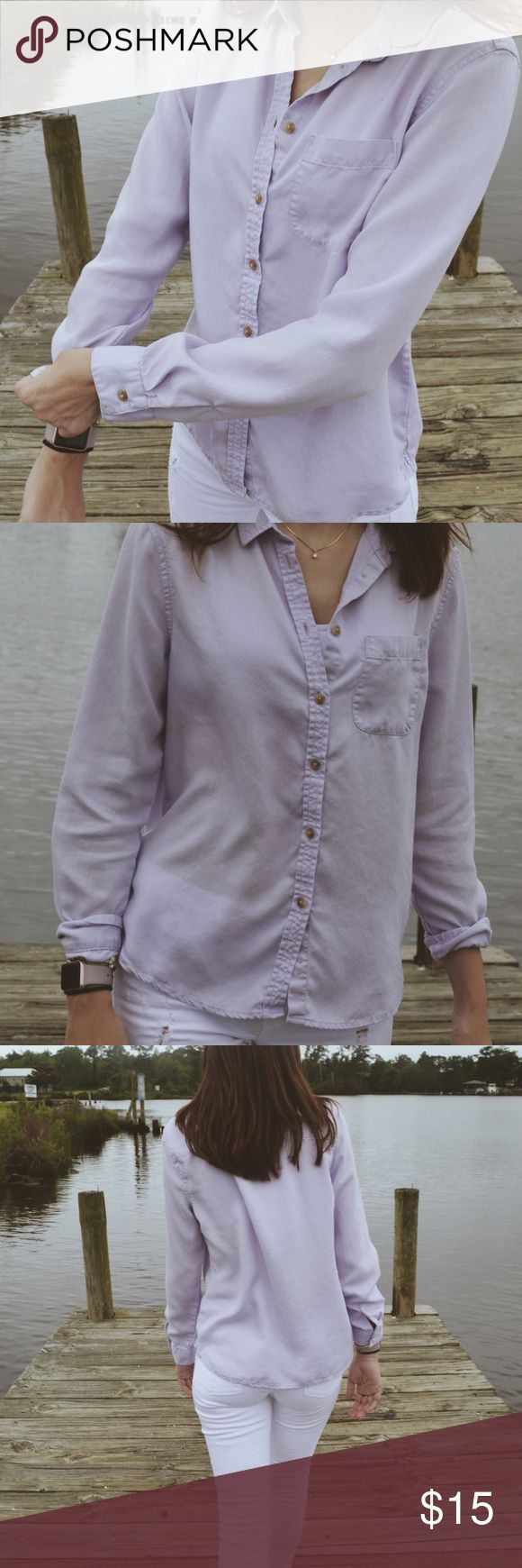 Selling this Lilac American Eagle Button Up Oxford Top on Poshmark! My username is: mtrobaugh. #shopmycloset #poshmark #fashion #shopping #style #forsale #American Eagle Outfitters #Tops