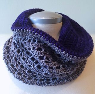 Burst of Clouds - free crochet cowl pattern by Hilary Carr. 'Constructed in the round as one long tube and then folded over and seamed at one end for a nice cozy double layer.' Aran weight.