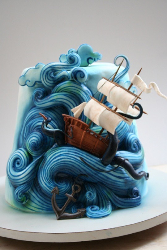 ocean and boat cake sweet-food