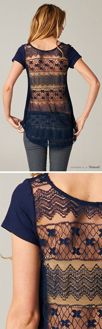 Navy Lace Back Top - open back, daring! What do I wear it with?