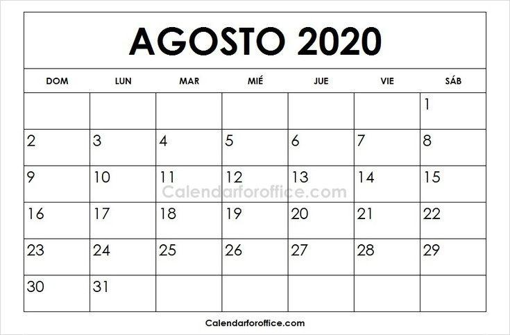 Agosto 2020 Calendario.Calendario 2020 Agosto 2020 Calendar June 2019 Calendar