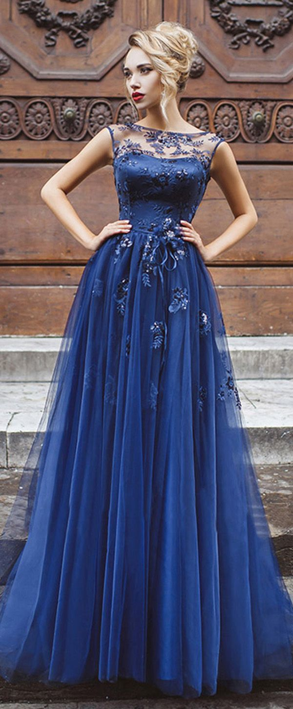 Elegant Tulle Bateau Neckline Cut-out A-line Evening Dresses With Beaded Lace Appliques & Belt