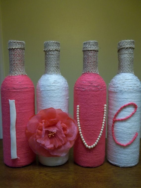 82 best wine bottle sell images on pinterest decorated bottles custom love wine bottles wrapped in yarn by weddingworthycrafts solutioingenieria Images