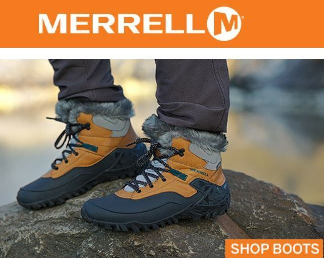 Merrell's wide selection of footwear includes hiking boots, hiking shoes, casual sandals and slip-ons, outdoor running footwear