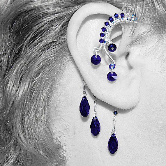 Bold dark indigo blue Swarovski crystal wire wrapped ear wrap v3, No piercing needed
