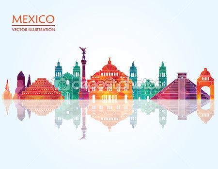Horizonte de los monumentos famosos de México — Vector de stock © CamillaCasablanca #63567801