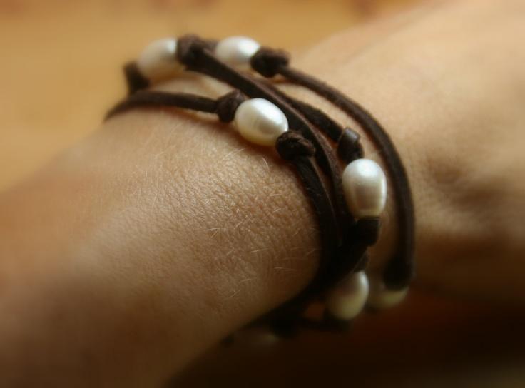 Boho Style Deerskin Leather and Freshwater Pearl Wrap Bracelet or Lariat. $32.00, via Etsy.
