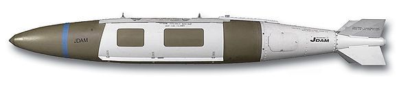 """GBU-31. TheJoint Direct Attack Munition(JDAM) is a guidance kit that convertsunguided bombs, or """"dumb bombs"""" into all-weather""""smart"""" munitions. JDAM-equipped bombs are guided by an integratedinertial guidance systemcoupled to aGlobal Positioning System(GPS) receiver, giving them a published range of up to 15 nautical miles (28km). JDAM-equipped bombs range from 500 pounds (227kg) to 2,000 pounds (907kg).[1]When installed on a bomb, the JDAM kit is given a GBU (Guided Bomb Unit)…"""
