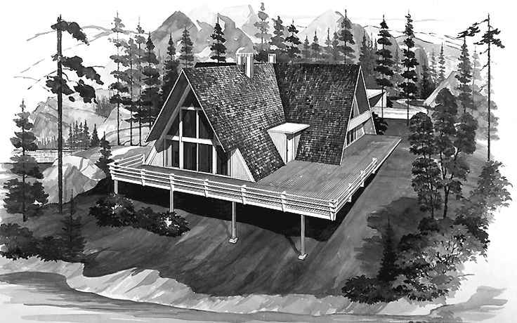 A-Frame House Plan with 2190 Square Feet and 5 Bedrooms(s) from Dream Home Source | House Plan Code DHSW44347
