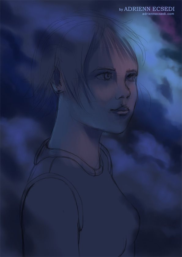 A work in progress picture of my new digital portrait painting.