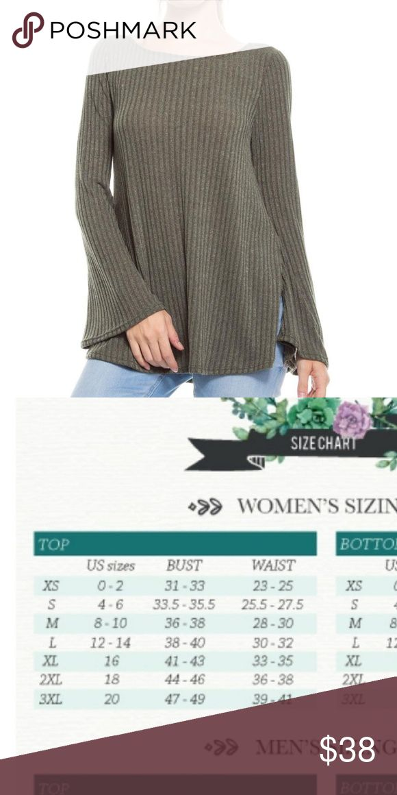 New loose knit sweater under 50 Soft brushed loose knit sweater with bell sleeves, beautiful olive color True to size Cotton Sweaters Crew & Scoop Necks