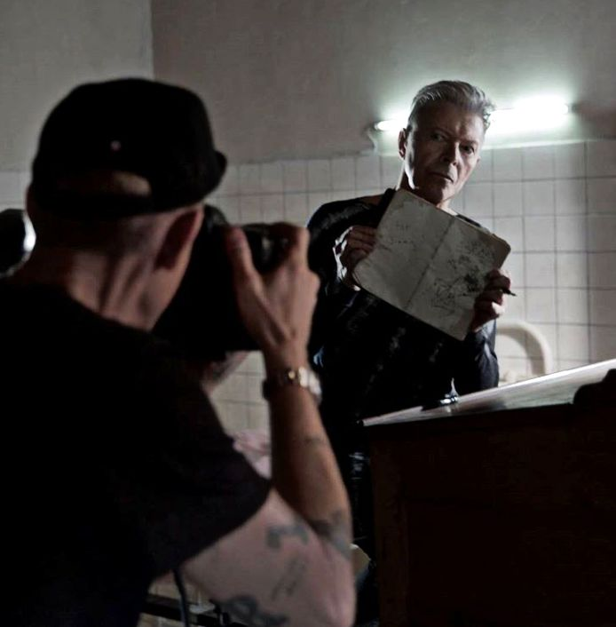 2016 - David Bowie from Lazarus video (backstage photo). Omg this is the picture Jimmy Fallon was talking about!!!
