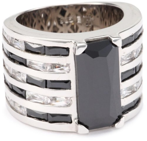 Giorgio Martello Sterling Silver Rhodium Plated Black and Wh