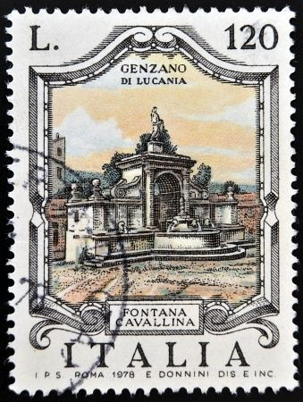 ITALY - CIRCA 1978: a stamp printed in Italy shows Cavallina Fountain, Genzano di Lucania, circa 1978