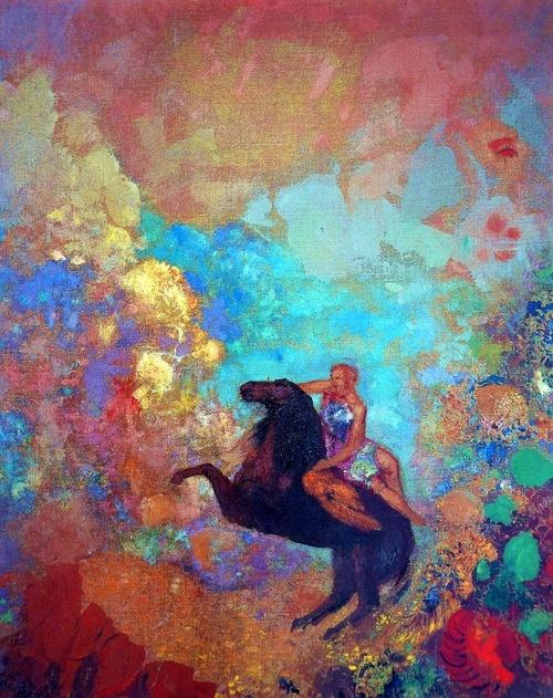 """Odilon Redon """"Muse on Pegasus"""" 1900 Los SIMBOLITAS consideran que la obra de arte equivale a una emoción provocada por la experiencia. Tratan de exteriorizar una idea, de analizar el yo. Les interesa la capacidad de sugerir, de establecer correspondencias entre los objetos y las sensaciones, el misterio, el ocultismo. Sienten la necesidad de expresar una realidad distinta a lo tangible y tienden hacia la espiritualidad. El símbolo se convierte en su instrumento de comunicación decantándose…"""