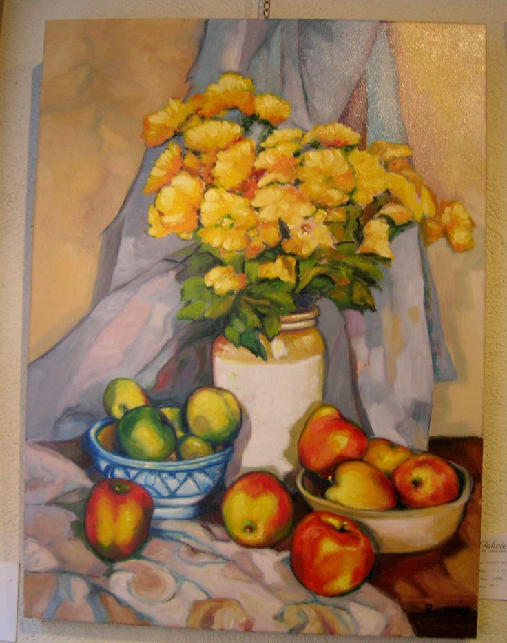 Óleo sobre lienzo de firma: Román, 81x60 cm. doble bastidor, bodegón manzanas