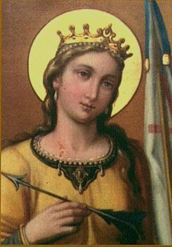 St. Ursula -According to a legend Ursula was the daughter of a Christian king in Britain, granted a 3 year postponement of a marriage to a pagan prince. With ten ladies in waiting, she embarked on a voyage across the North sea, sailed up the Rhine to Basle, Switzerland, & went to Rome. On their way back, they were massacred by pagan Huns at Cologne in about 451 when Ursula refused to marry their chieftain.  From these meager facts, the legend of Ursula grew and developed. Feast day October…