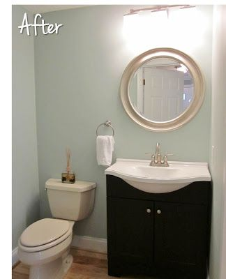 Rainwashed by Sherwin Williams - bathroom paint color. This is the exact layout of our little bathroom.