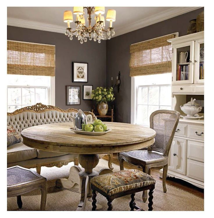 Warm and traditional dining rooms wall colors interior ideas round table diningroom kitchen - The round tables as the good dining room interior design ideas ...