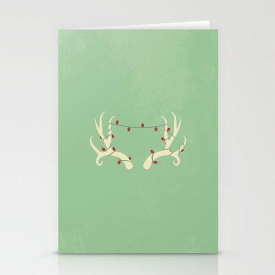 Antler <b>Lights</b> Stationery Card - Deer, reindeer, Christmas <b>lights</b> ...
