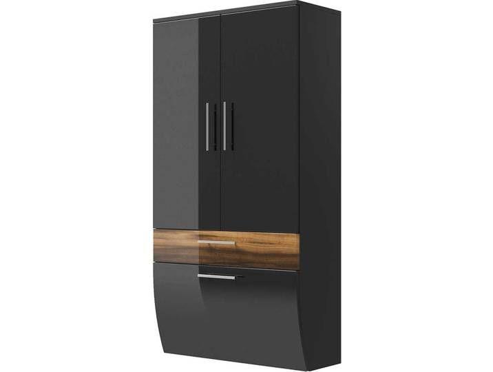 Badezimmer Hochschrank In Anthrazit Hochglanz Walnuss Tall Cabinet Storage Storage Home Decor
