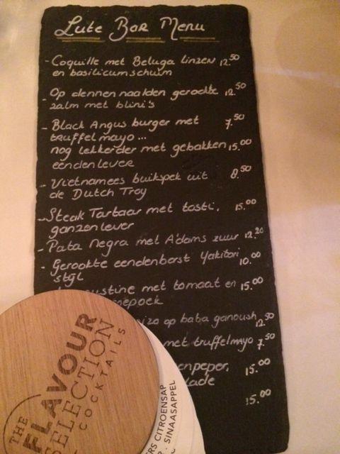 Bar Menu van Lute Restaurant in Ouderkerk aan de Amstel van Peter Lute.  www.lute.nu